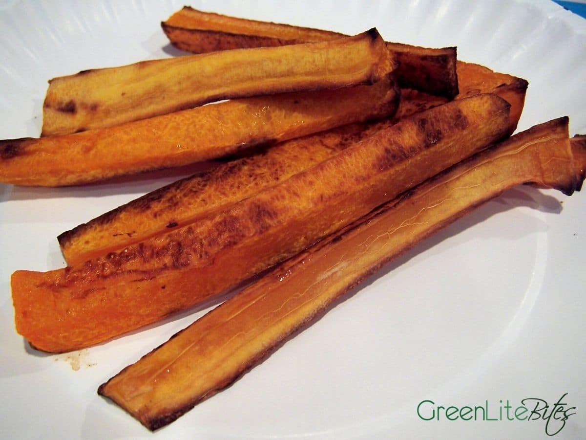 Squash fries on white plate