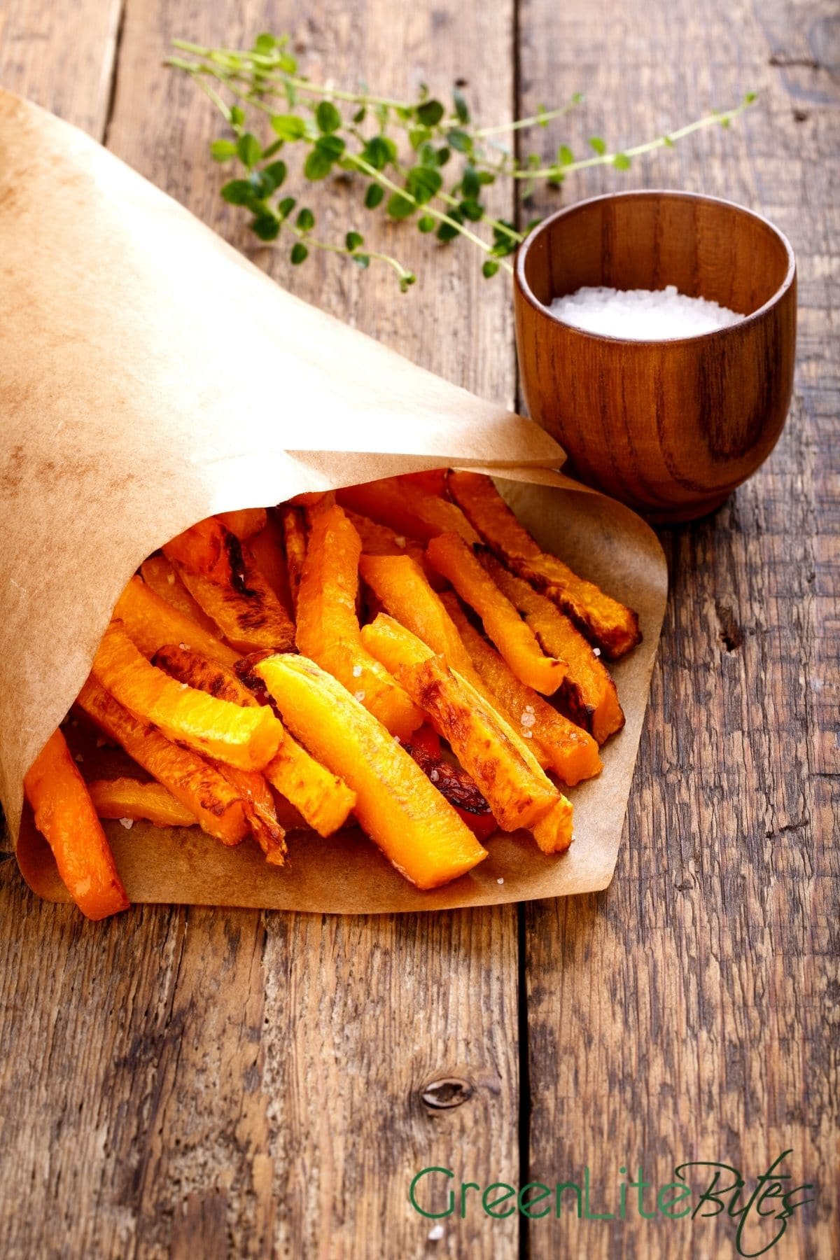 Paper bag of butternut squash fries