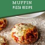 English muffin pizza on cutting board