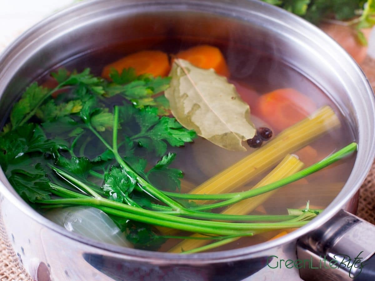 Pot of vegetables for broth