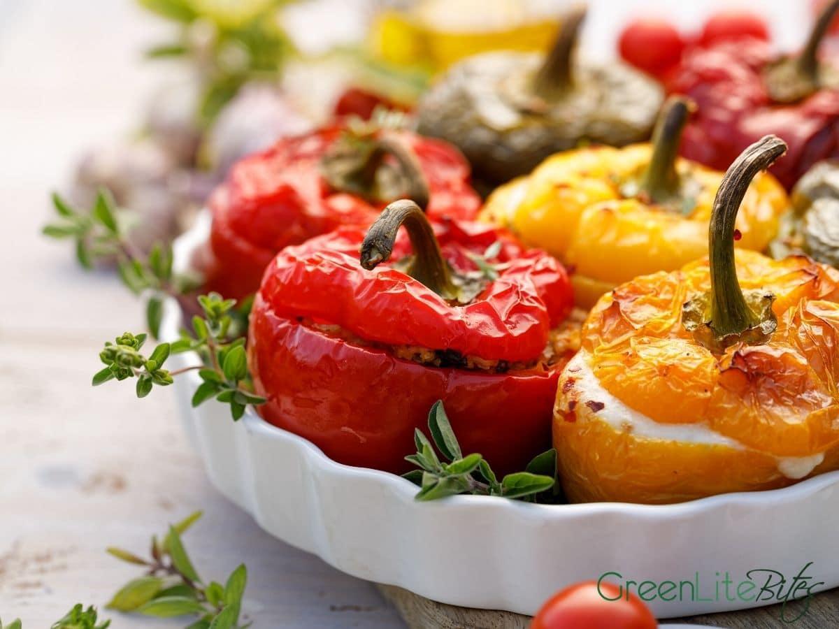 Stuffed peppers in platter