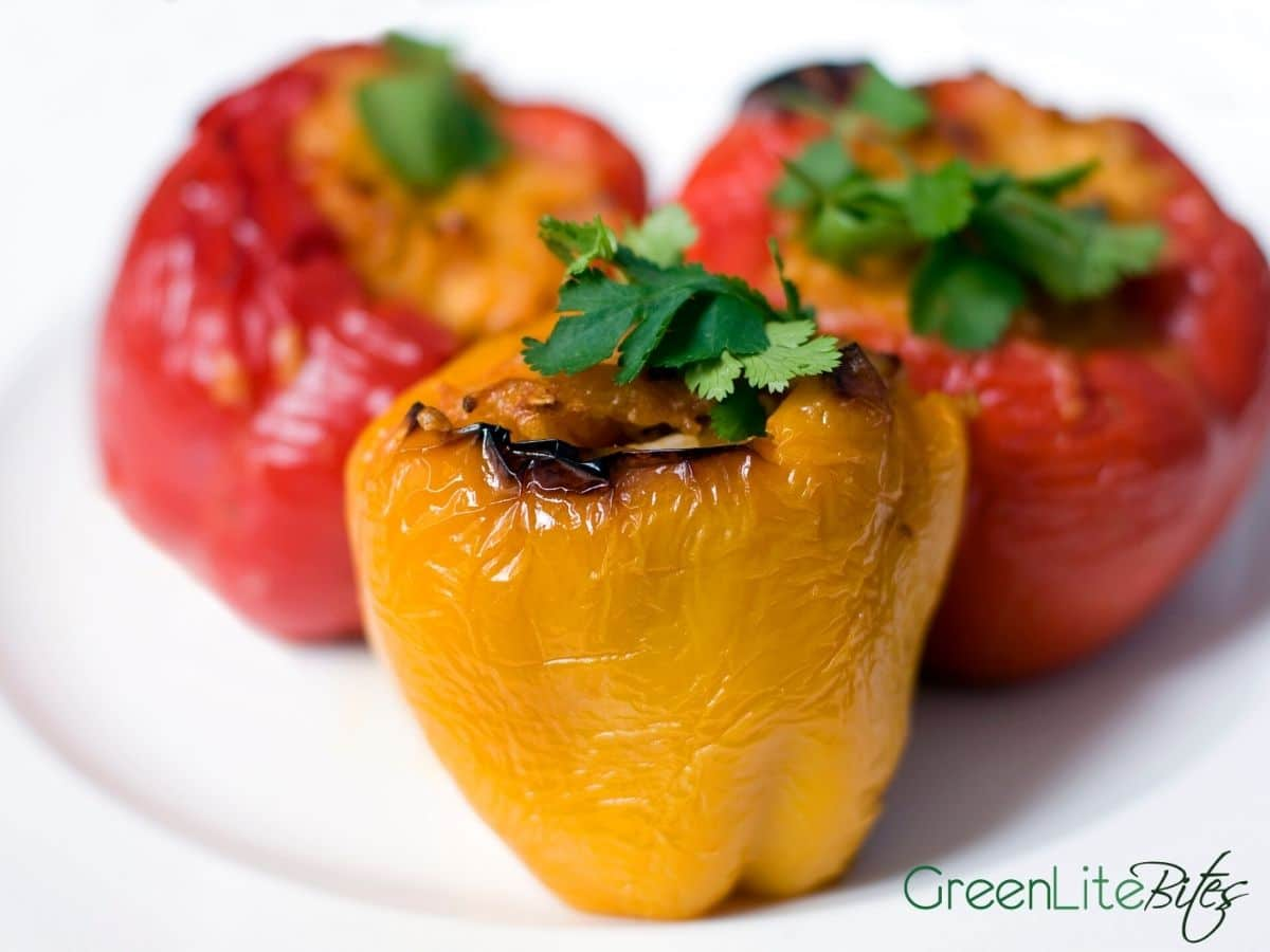 Stuffed peppers on plate