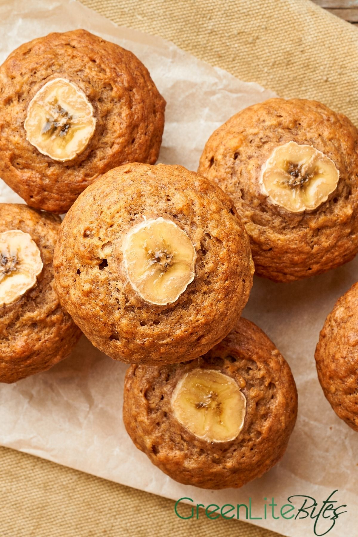Muffin with banana slice on top