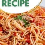 Homemade marinara sauce on pasta