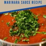 Marinara sauce in stockpot