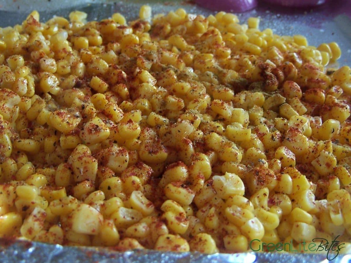 Corn on baking sheet