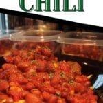 Vegetarian chili in black bowl