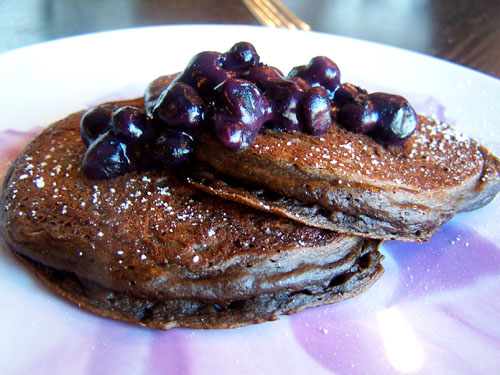 Chocolate Banana Pancakes with Easy Blueberry Topping close up