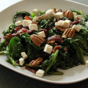 Mustard Green Salad with bacon, feta and pecans