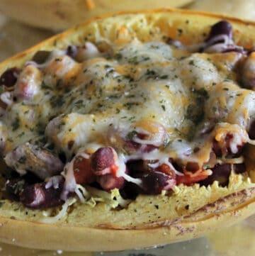 Kidney Bean Spaghetti Squash Boats