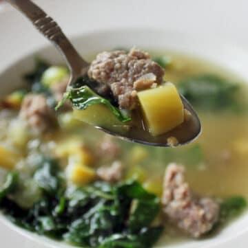 Bite of Sausage Potato Chard soup
