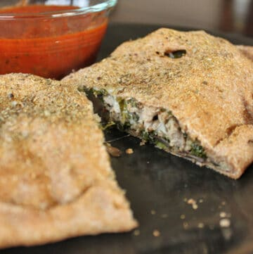 Turkey, Kale and Portobello Stromboli - Cut in half