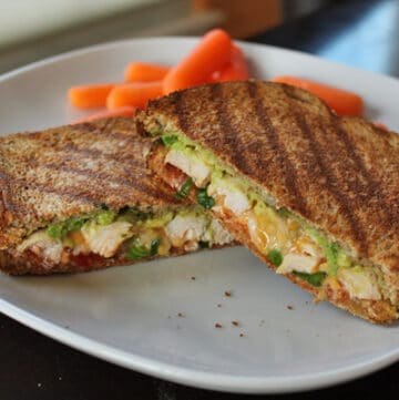 Grilled Chicken Panini with avocado and salsa finished
