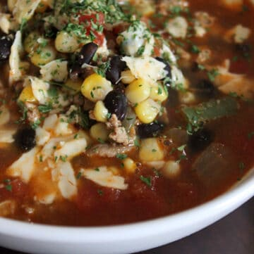 Turkey taco soup close up