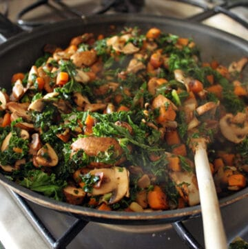Sweet Potato and Kale Skillet cooking