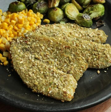 Pistachio and Oat Crusted Tilapia plated