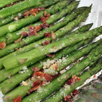 Roasted Asparagus with Parmesan and Bacon Bits after