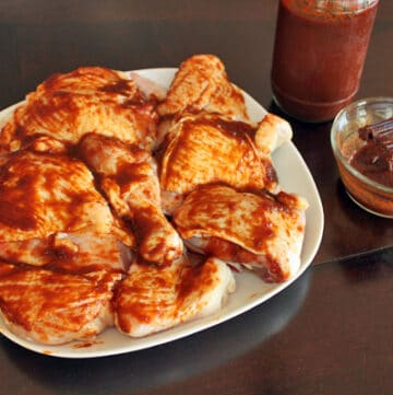 Homemade BBQ sauce on chicken