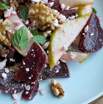 Pear Beet Salad with Walnuts and Goat Cheese - Plated