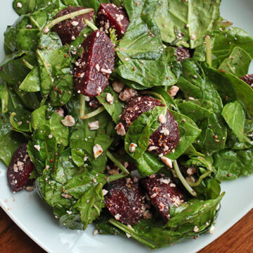 Beet and Greens Salad with Goat Cheese Plated