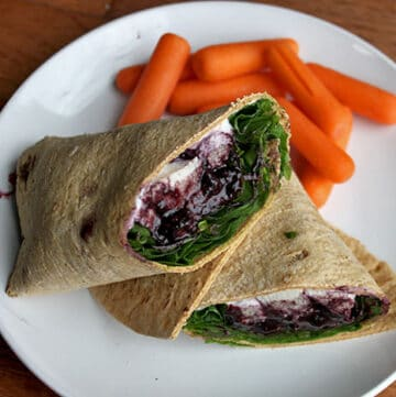 Flatout Flat Bread Chicken Wrap with a Simple Blueberry Balsamic Reduction Cut