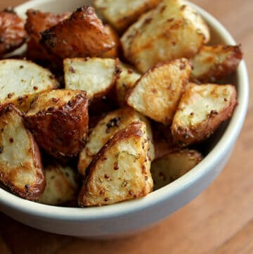 Red Potatoes Roasted with Rosemary and Mustard in Bowl
