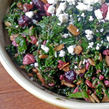 Overnight Kale and Blueberry Salad with Feta and Sunflower Seeds