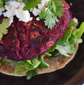 Close up of the Black Bean and Beet Burger