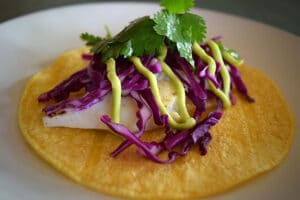 Fish Tacos with Avocado Lime Dressing