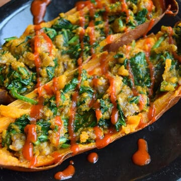 Leftover Baked Sweet Potato with Spinach and Sausage