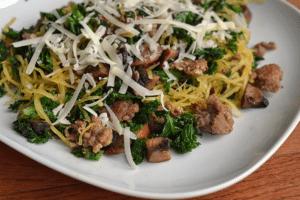 Portabello, Sausage, Kale and Spagetti Squash Skillet