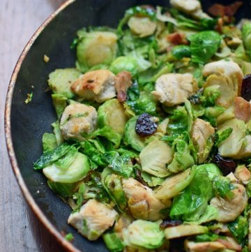 Single-Serve Chicken and Brussels Sprouts Skillet Portrait