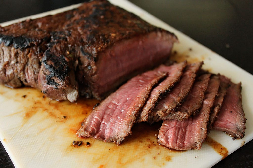 Thin sliced fried London Broil