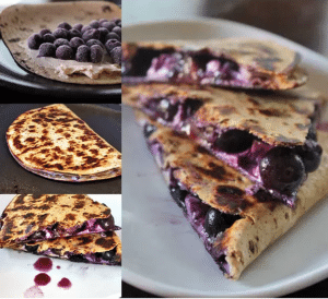 blueberry breakfast quesadilla collage