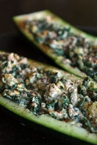 Cheesy Kale and Turkey stuffed Zucchini Boats Portrait