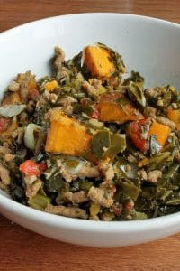 Ground Turkey With Collard Greens and Sweet Potatoes Portrait