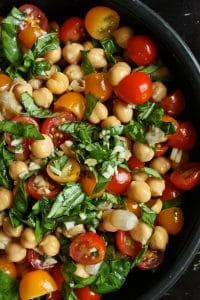 Chickpea and Tomato Salad with Fresh Basil Portrait
