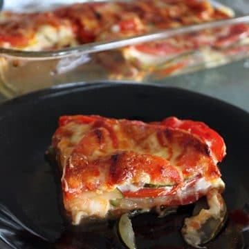 Cheesy Zucchini Tomato Bake Portrait