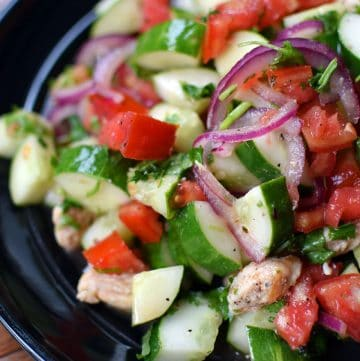 Garden Salad with Quick Pickled Onion and Grilled Chicken - Portrait