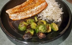 Thyme Salmon with Maple Cayenne Brussels Sprouts and Flavored Rice