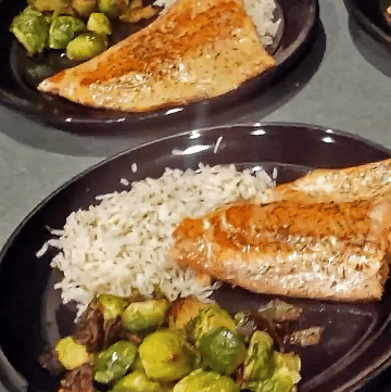 Thyme Salmon with Maple Cayenne Brussels Sprouts and Flavored Rice Portrait