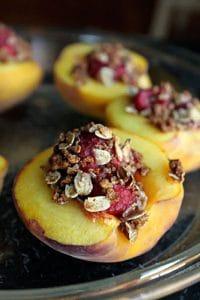 Raspberry Stuffed Peaches