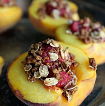 Raspberry Stuffed Peaches