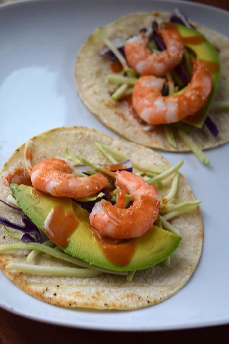 Simple Shrimp Tacos with Peanut Sauce