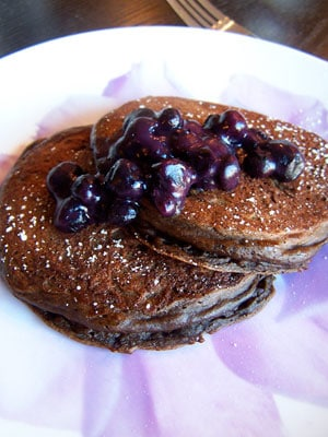 Chocolate Banana Pancakes with Easy Blueberry Topping