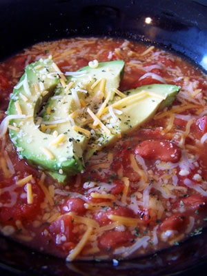 Taco-ish Soup with Couscous and Avocado