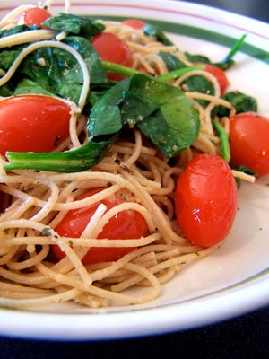 Simply Roasted Cherry Tomatoes with Spinach and Angel Hair