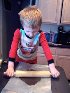 Chocolate Cookie Crisps  - rolling the dough