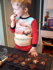 Chocolate Cookie Crisps  eating