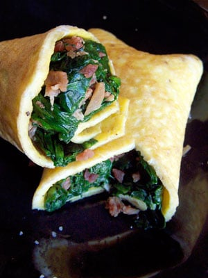 Spinach and Bacon Egg Wraps